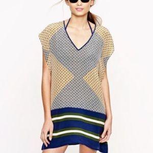 J Crew Silk Abstract Diamond Print Tunic Dress S